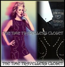 BNWT TOPSHOP KATE MOSS BUTTERSOFT SUEDE SILVER LEATHER SHIFT DRESS LASER 8 36 4