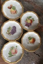 ROSENTHAL Antique Dessert Plates Set Of Five Numbered & Signed Gilt Banding