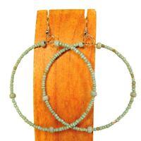 "2"" Large Aqua Blue Turquoise Color Bohemian Handmade Seed Bead Hoop Earring"