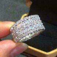 3.00 Ct White Round Diamond Wedding 14k White Gold Over Engagement Eternity Band