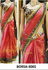 Sari Saree Bollywood Paper Silk Georgette Embroidery Sequence Velvet Blouse AB