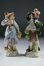 Vintage Pair Of Sitzendorf  Dresden Porcelain - Family Figurines