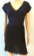 Urban Outfitters Womens Dress Pins and Needles Navy Black Pleated Fit & Flare  L
