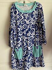 Mini Boden Size 8-10 Blue White  Green Tunic Girl's Dress Floral