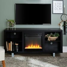 58-inch Modern Fireplace Tv Stand Console with Open Shelving Black 58 x 16 x 26h