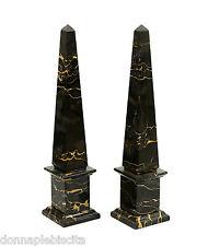 Obelisco in Marmo Portoro Marble Obelisk Classic Sculpture Home Old Design H30cm