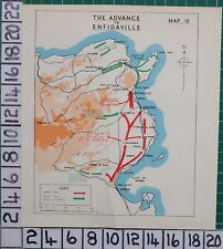 WW2 MAP ~ THE ADVANCE TO ENFIDAVILLE 8th ARMY U.S CORPS SFAX SOUSSE TUNIS