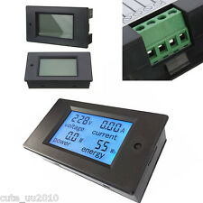 DC 20A/200W Volt Amp Ah Power Capacity Percent Battery Monitor Watt Meter LCD