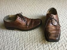 Kenneth Cole Brown Worn Look Leather Lace Up Square Toe Shoes Size 9.5