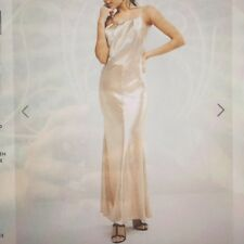 Womens silk gold maxi dress with slight fishtail and strap back, size 10