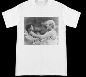 Larry Bird Choking Dr J Julius Erving Celtics Sixers White T Shirt Size S-2XL