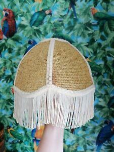 Vintage Wicker Rattan Fringed Light Shade Ceiling Pendant Scalloped Boho