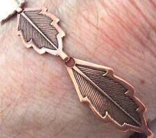"Copper Bracelet 7.75"" Linked Wheeler Leaf Detox Arthritis Healing Folklore cb268"