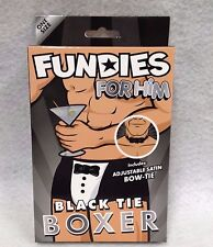 Fundies for Him Black Tie Boxer w/ Satin Bow-Tie Male Stripper Costume Gag Gift