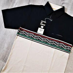 Vintage DEADSTOCK 70s 80s London Fog Polo Shirt Retro Aztec Rockabilly Mod NWT S