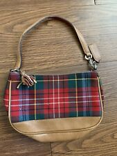 Authentic Coach Red Wool Plaid Small Shoulder Leather  Bag