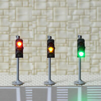 2 x traffic signal light N scale model railroad crossing walk pedestrian #GR3N