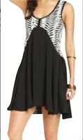 Free People Sleeveless Mini Dress Black White Pattern NWT! $98 Size Medium