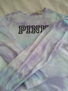 Victoria's Secret PINK Top Tie  dye crop long sleeve size large new with tags