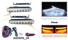 LED DRL luci diurne di marcia + girare segnale Indicatori 160mm AUTO + KIT DI CABLAGGIO