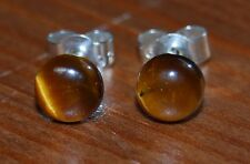 Gold Tigereye 6mm Cabochon Gemstone Sterling Silver Ear Studs, Butterfly Backs.