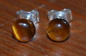Gold Tigereye 6mm Cabochon Gemstone Sterling Silver Ear Studs, Butterfly Backs.