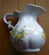 vintage Vase with flower design, Mystery maker, Yellow Floral porcelain White