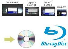 VHS VHS-C HI8 8 mm MiniDV FOTO VIDEO CAMCORDER nastri al servizio di trasferimento BLURAY