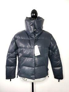 NWT Sample Danier Canada Blue Grey Lamb Leather Jacket Puffer Thinsulate sz S