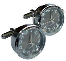 Steampunk cufflinks silver pocket working quartz watch groom wedding Gift BOX