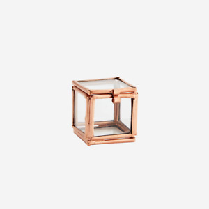 Copper Mini Square Clear Glass Box, Small Display Trinket Jewellery Storage Cube
