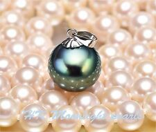Tahitian Big Black Shell Pearl(12mm) solitaire pearl Necklace for her