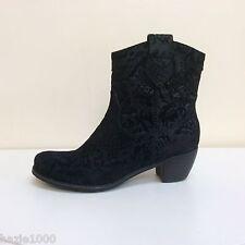 K & S Ambra black leather flock detail ankle boots, UK 4/EU 37, RRP £195 BNWB