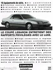 Publicité Advertising 1992 Chrysler coupé Lebaron