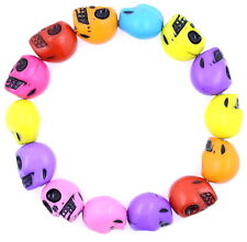 Punk Goth biker colourful skull stretch charm bracelet