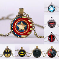 Superhero Captain America Super/Batman Shield Glass Photo Pendant Chain Necklace