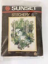 "Sunset Stitchery 2469 Rain Forest 16"" x 20"" Crewel Embroidery Kit Birch Trees"