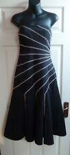 FAB Coast Black Beige Gold Stitch Bead Detail Strapless Party Dress Size 8 VGC