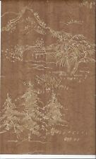 Two Tone Gold Asian Scenes On Cocoa Brown Faux Crackle Wallpaper MC099655