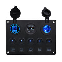 Electrical Control Panel+Voltmeter 5Gang USB Switch Marine Boat 12V 24V Caravan