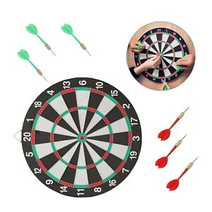 "17"" DARTBOARD SET FULL SIZE 6 DARTS  FAMILY DART BOARD GAME ADULTS KIDS"