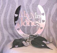 Wedding Cake Topper , Personalised Mr & Mrs  Lucky Horseshoe FREE GIFT BAG