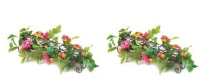 2 5 Cup Tealight Floral Candle Holders w/Faux Pink Blooming Flowers Centerpieces