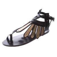 IVY KIRZHNER Women's Black Woven Leather Soleil Thong Sandals $375 NEW