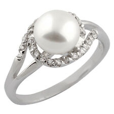 Fancy Sterling Silver ring with freshwater pearl and CZ RS-90