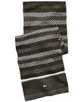 Tommy Hilfiger Mens Scarf Gray Black One Size Striped Herringbone Knit $60 468