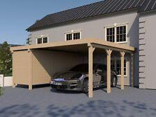 Carport Flachdach SILVERSTONE XVII 600x600 cm mit Geräteraum Flachdachcarport