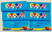 Baby Shark Personalised Chocolate Bars Birthday Party Bag Fillers, Pack Of 6