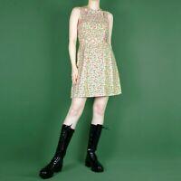 VINTAGE STYLE 2000s Bodycon Ditsy Floral 90s Mini Short Pattern Dress XS 6 8
