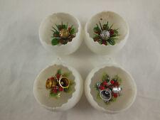 Vintage Diorama White Plastic Christmas Tree Ornaments 4 Pieces Scallopped edges